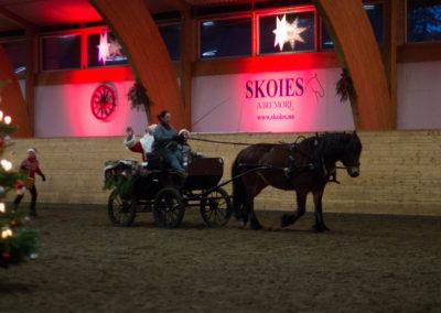 Julenissen kommer med hest og vogn
